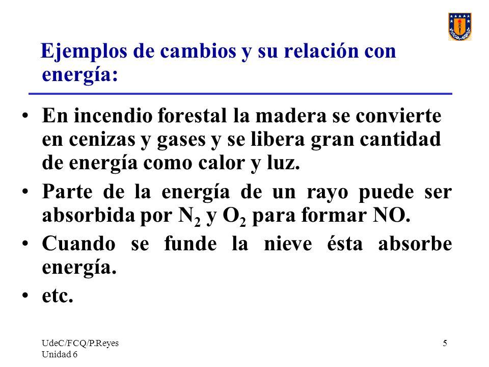 UdeC/FCQ/P.Reyes Unidad 6 5 Ejemplos de cambios y su relación con energía: En incendio forestal la madera se convierte en cenizas y gases y se libera