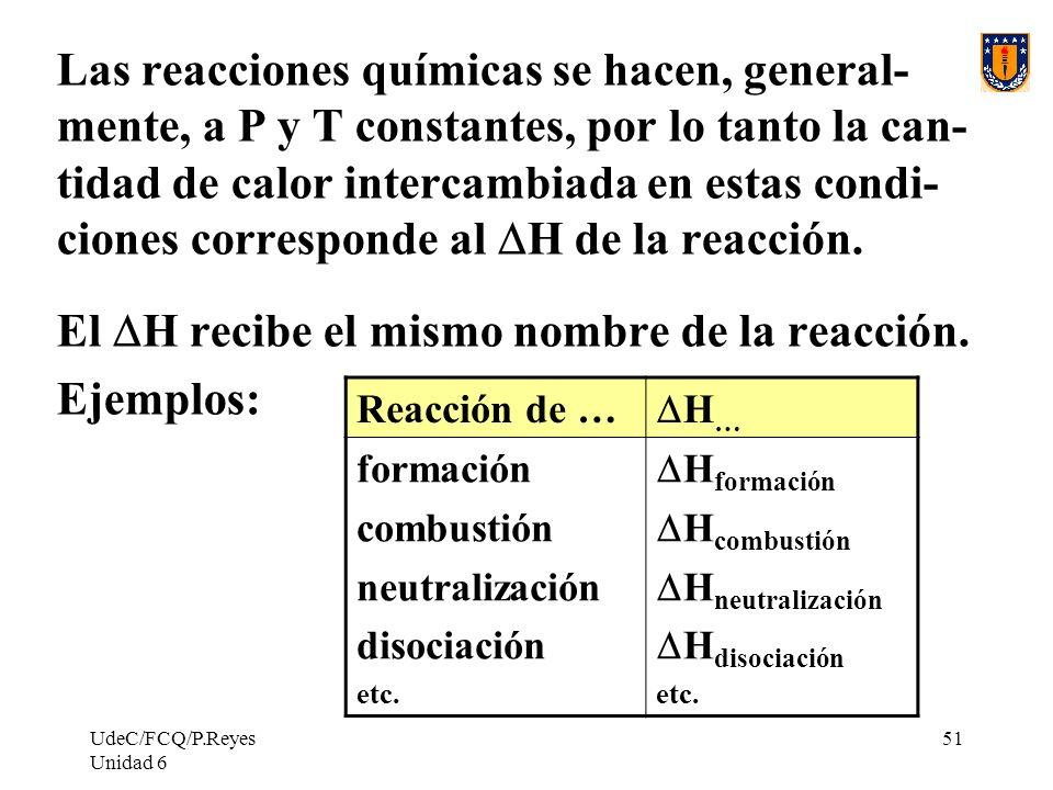 UdeC/FCQ/P.Reyes Unidad 6 51 Las reacciones químicas se hacen, general- mente, a P y T constantes, por lo tanto la can- tidad de calor intercambiada e