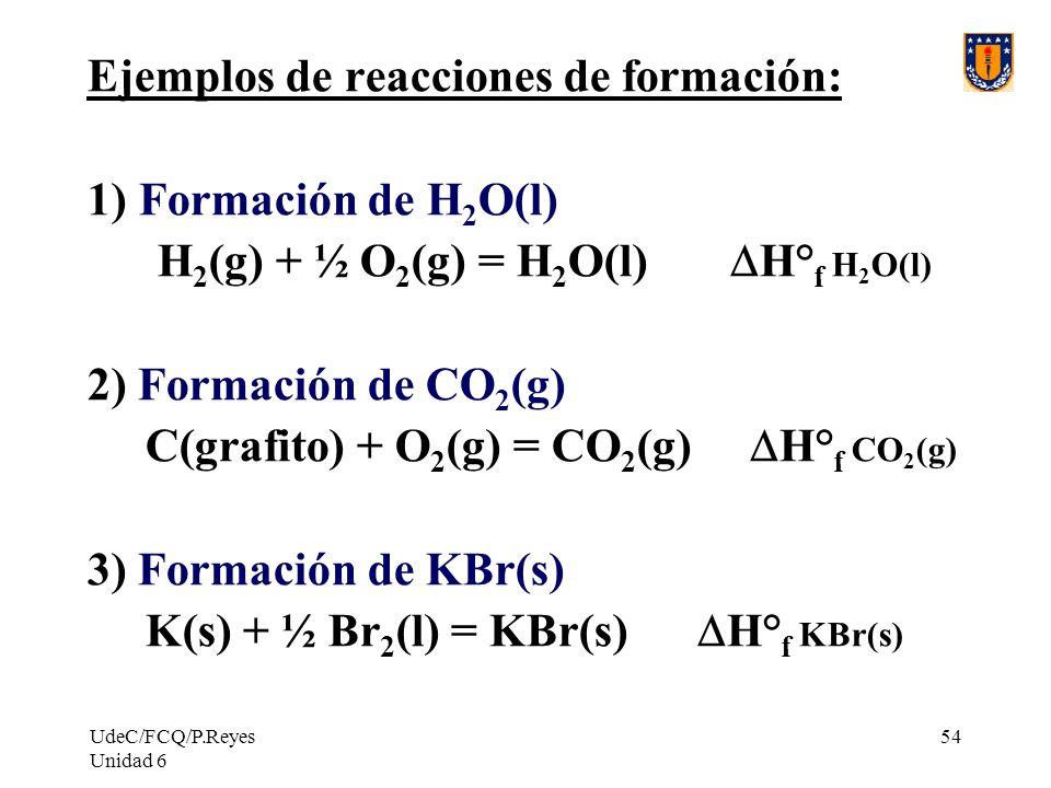 UdeC/FCQ/P.Reyes Unidad 6 54 Ejemplos de reacciones de formación: 1) Formación de H 2 O(l) H 2 (g) + ½ O 2 (g) = H 2 O(l) H° f H 2 O(l) 2) Formación d