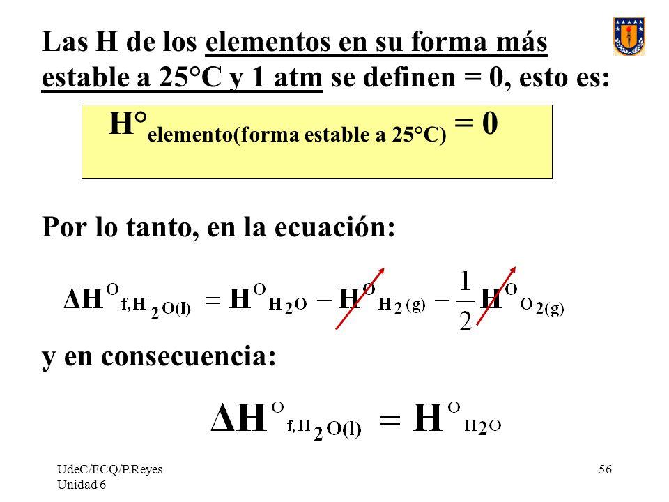 UdeC/FCQ/P.Reyes Unidad 6 56 Las H de los elementos en su forma más estable a 25°C y 1 atm se definen = 0, esto es: H° elemento(forma estable a 25°C)