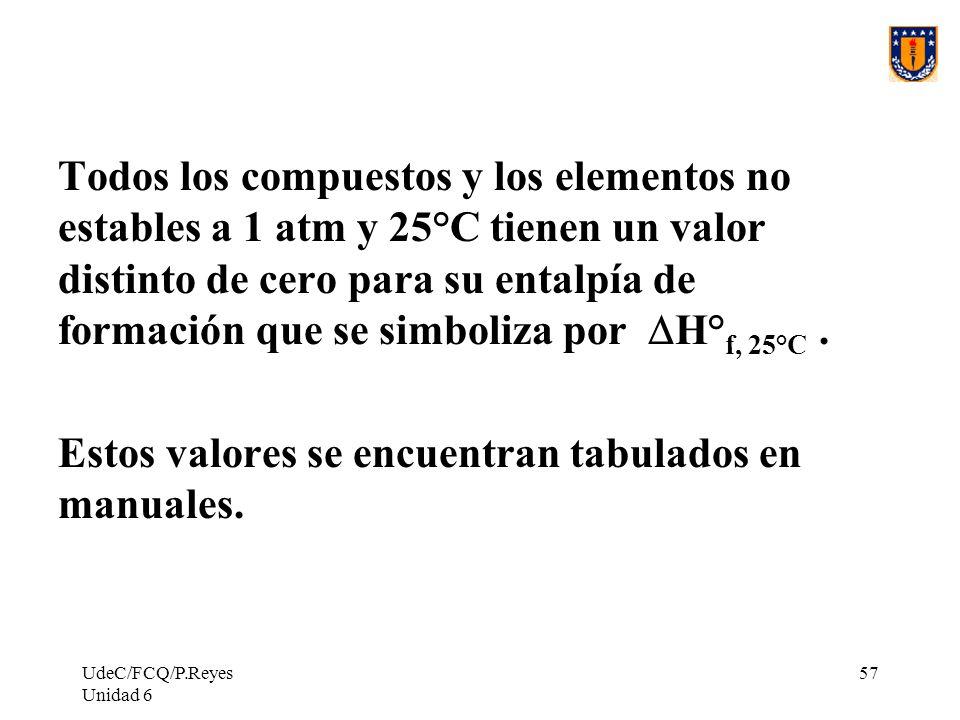 UdeC/FCQ/P.Reyes Unidad 6 57 Todos los compuestos y los elementos no estables a 1 atm y 25°C tienen un valor distinto de cero para su entalpía de form