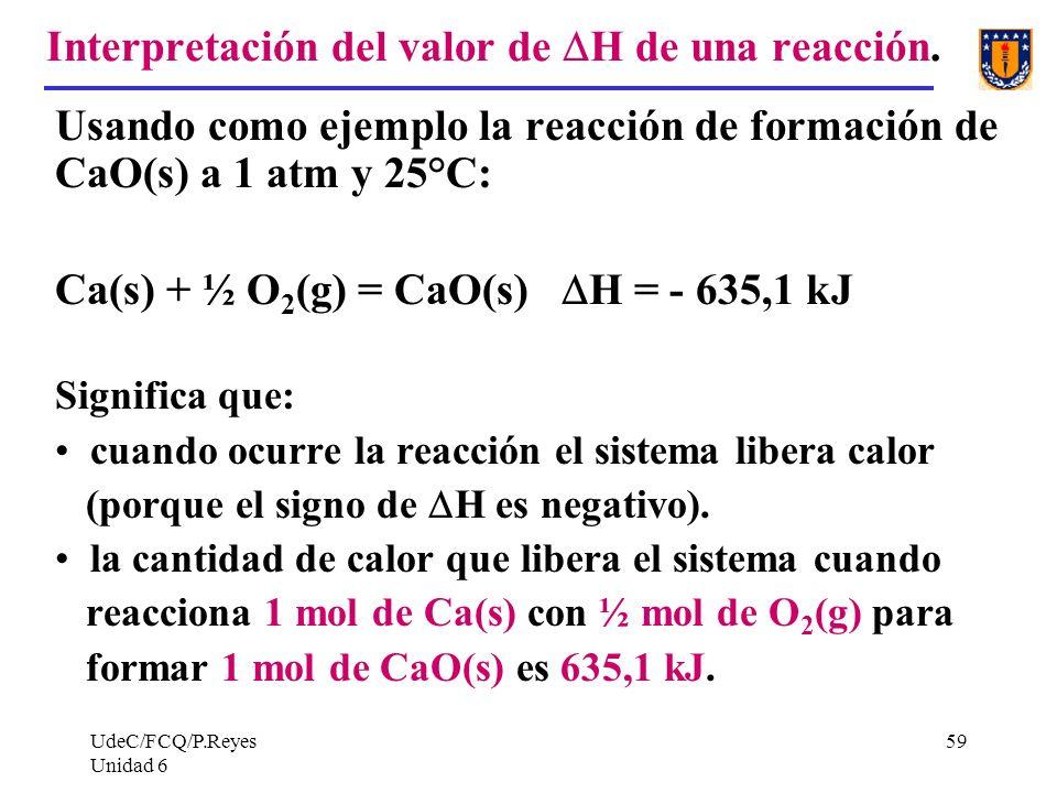 UdeC/FCQ/P.Reyes Unidad 6 59 Interpretación del valor de H de una reacción. Usando como ejemplo la reacción de formación de CaO(s) a 1 atm y 25°C: Ca(