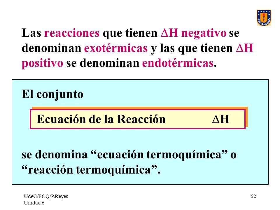 UdeC/FCQ/P.Reyes Unidad 6 62 Las reacciones que tienen H negativo se denominan exotérmicas y las que tienen H positivo se denominan endotérmicas. El c