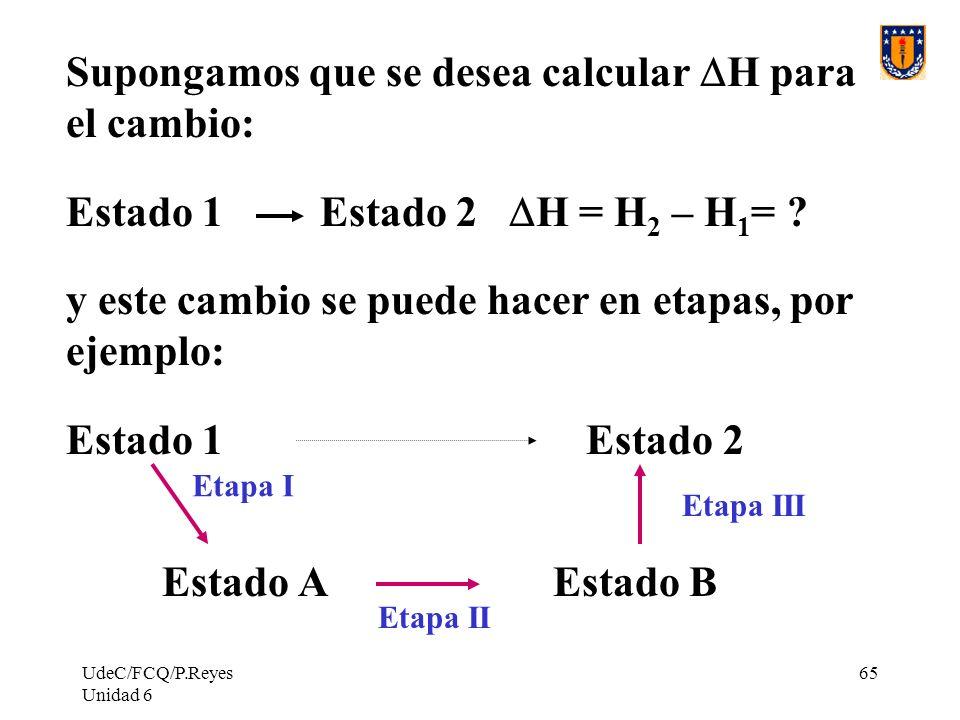 UdeC/FCQ/P.Reyes Unidad 6 65 Supongamos que se desea calcular H para el cambio: Estado 1 Estado 2 H = H 2 – H 1 = ? y este cambio se puede hacer en et