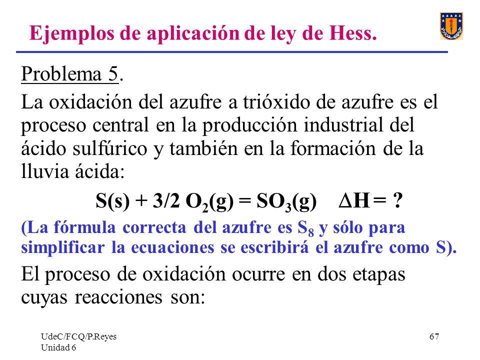 UdeC/FCQ/P.Reyes Unidad 6 67 Ejemplos de aplicación de ley de Hess. Problema 5. La oxidación del azufre a trióxido de azufre es el proceso central en