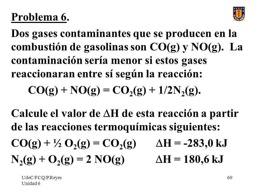 UdeC/FCQ/P.Reyes Unidad 6 69 Problema 6. Dos gases contaminantes que se producen en la combustión de gasolinas son CO(g) y NO(g). La contaminación ser