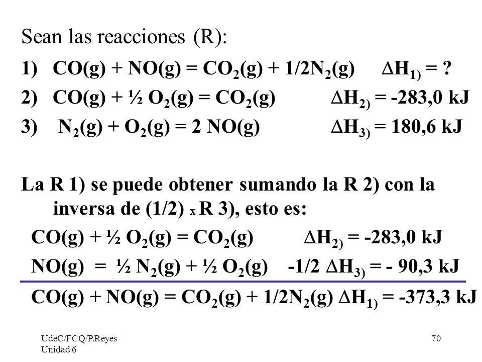UdeC/FCQ/P.Reyes Unidad 6 70 Sean las reacciones (R): 1) CO(g) + NO(g) = CO 2 (g) + 1/2N 2 (g) H 1) = ? 2) CO(g) + ½ O 2 (g) = CO 2 (g) H 2) = -283,0