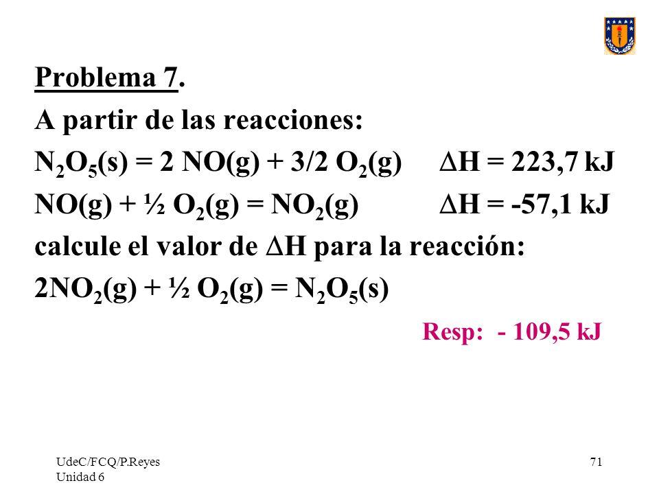 UdeC/FCQ/P.Reyes Unidad 6 71 Problema 7. A partir de las reacciones: N 2 O 5 (s) = 2 NO(g) + 3/2 O 2 (g) H = 223,7 kJ NO(g) + ½ O 2 (g) = NO 2 (g) H =