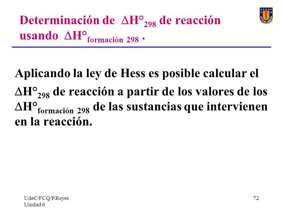 UdeC/FCQ/P.Reyes Unidad 6 72 Determinación de H° 298 de reacción usando H° formación 298. Aplicando la ley de Hess es posible calcular el H° 298 de re