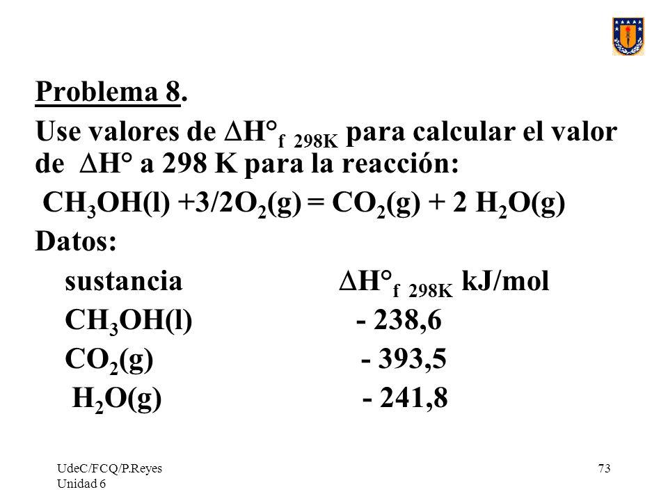 UdeC/FCQ/P.Reyes Unidad 6 73 Problema 8. Use valores de H° f 298K para calcular el valor de H° a 298 K para la reacción: CH 3 OH(l) +3/2O 2 (g) = CO 2