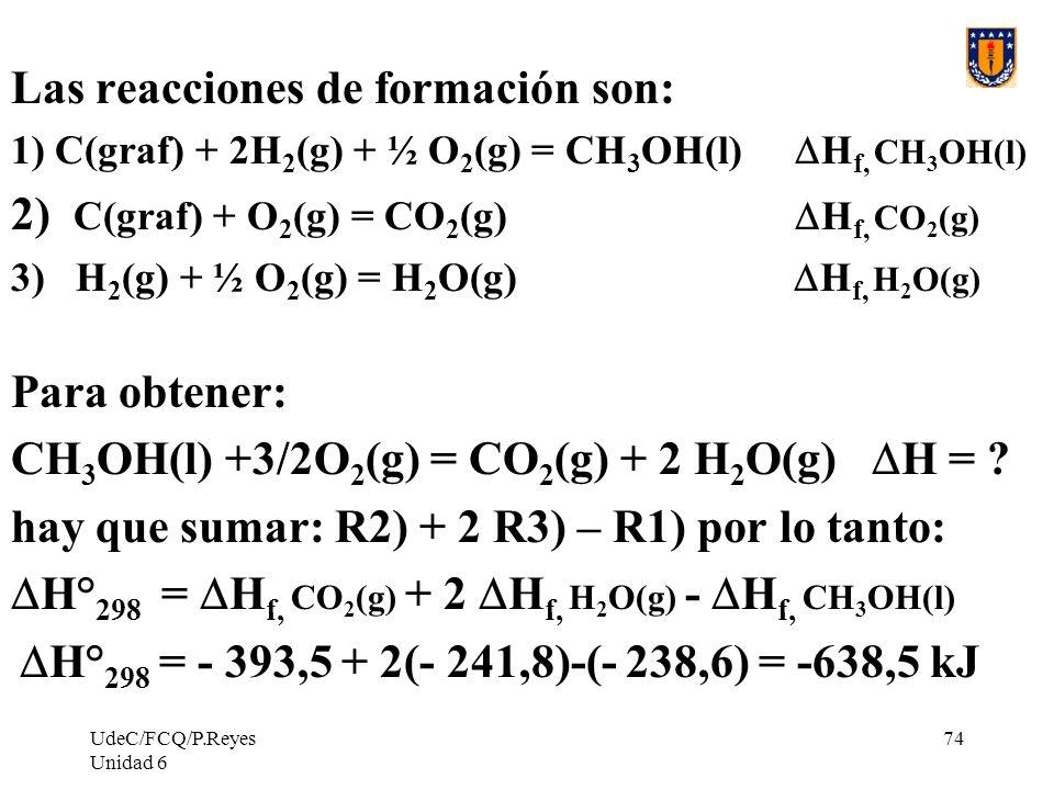 UdeC/FCQ/P.Reyes Unidad 6 74 Las reacciones de formación son: 1) C(graf) + 2H 2 (g) + ½ O 2 (g) = CH 3 OH(l) H f, CH 3 OH(l) 2) C(graf) + O 2 (g) = CO