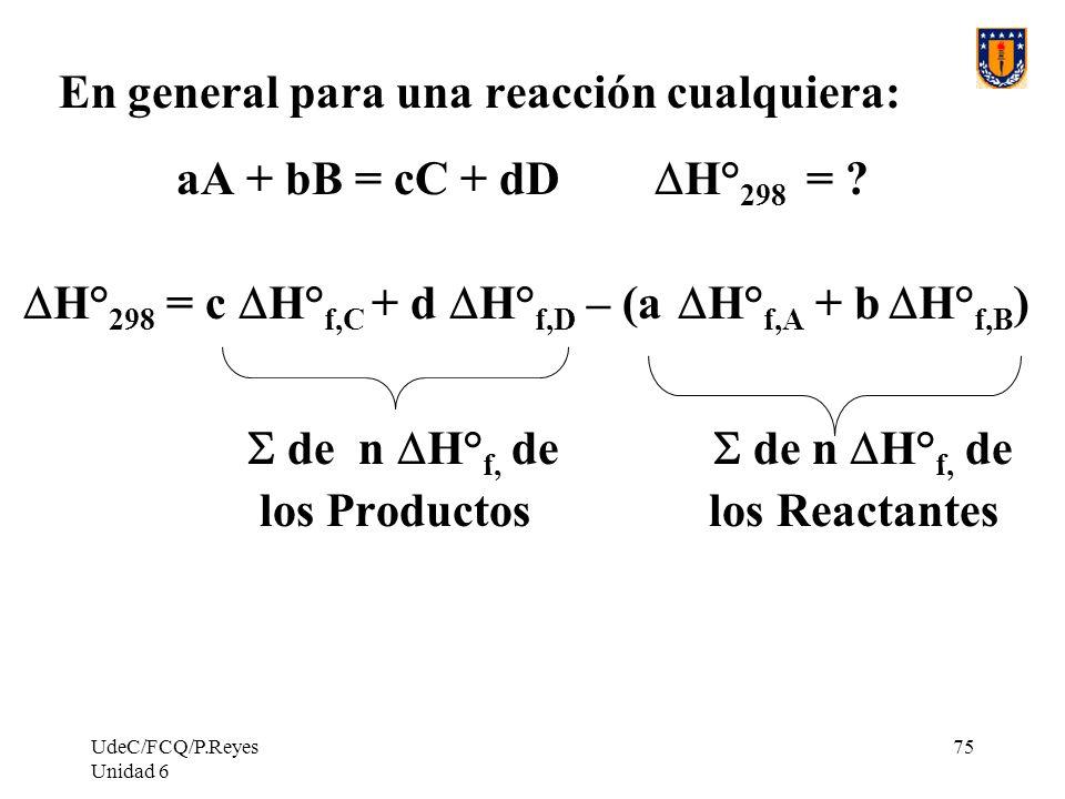 UdeC/FCQ/P.Reyes Unidad 6 75 En general para una reacción cualquiera: aA + bB = cC + dD H° 298 = ? H° 298 = c H° f,C + d H° f,D – (a H° f,A + b H° f,B