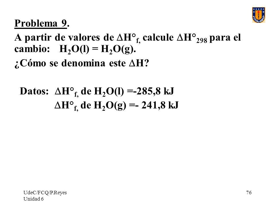 UdeC/FCQ/P.Reyes Unidad 6 76 Problema 9. A partir de valores de H° f, calcule H° 298 para el cambio: H 2 O(l) = H 2 O(g). ¿Cómo se denomina este H? Da