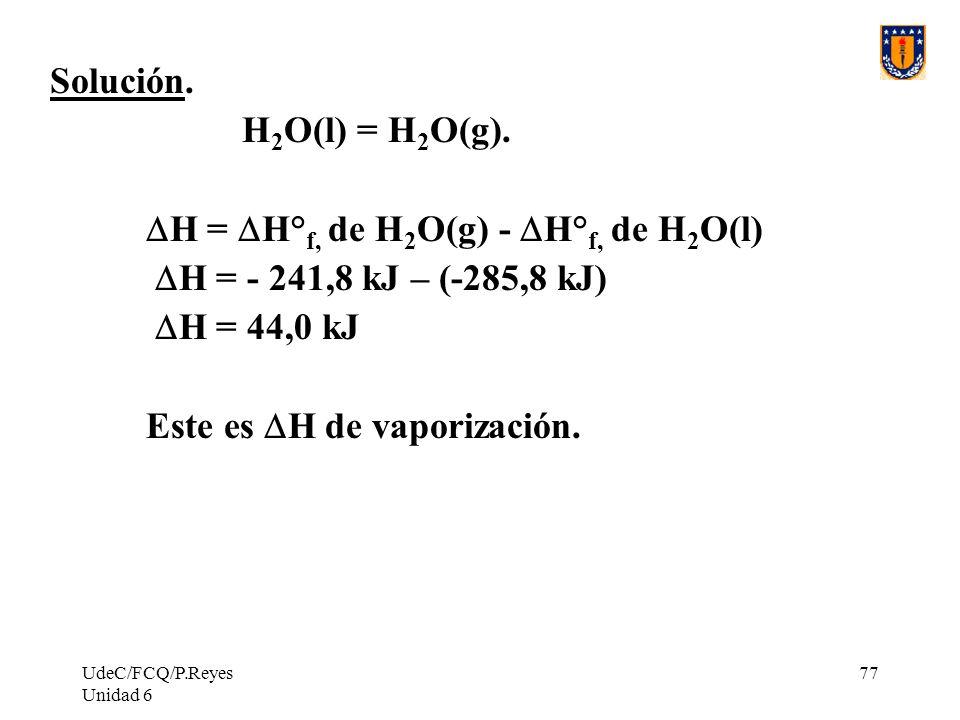 UdeC/FCQ/P.Reyes Unidad 6 77 Solución. H 2 O(l) = H 2 O(g). H = H° f, de H 2 O(g) - H° f, de H 2 O(l) H = - 241,8 kJ – (-285,8 kJ) H = 44,0 kJ Este es