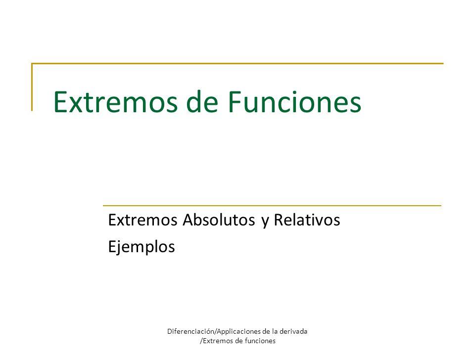 Extremos de Funciones Extremos Absolutos y Relativos Ejemplos Diferenciación/Applicaciones de la derivada /Extremos de funciones