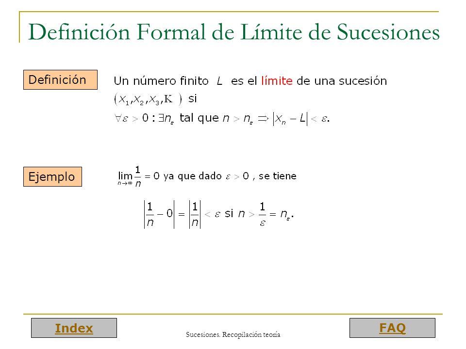 Index FAQ Sucesiones. Recopilación teoría Definición Formal de Límite de Sucesiones Definición Ejemplo