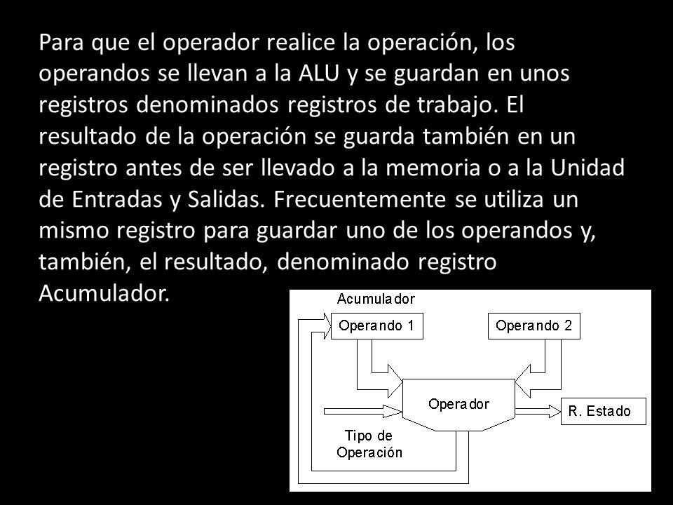 Para que el operador realice la operación, los operandos se llevan a la ALU y se guardan en unos registros denominados registros de trabajo. El result