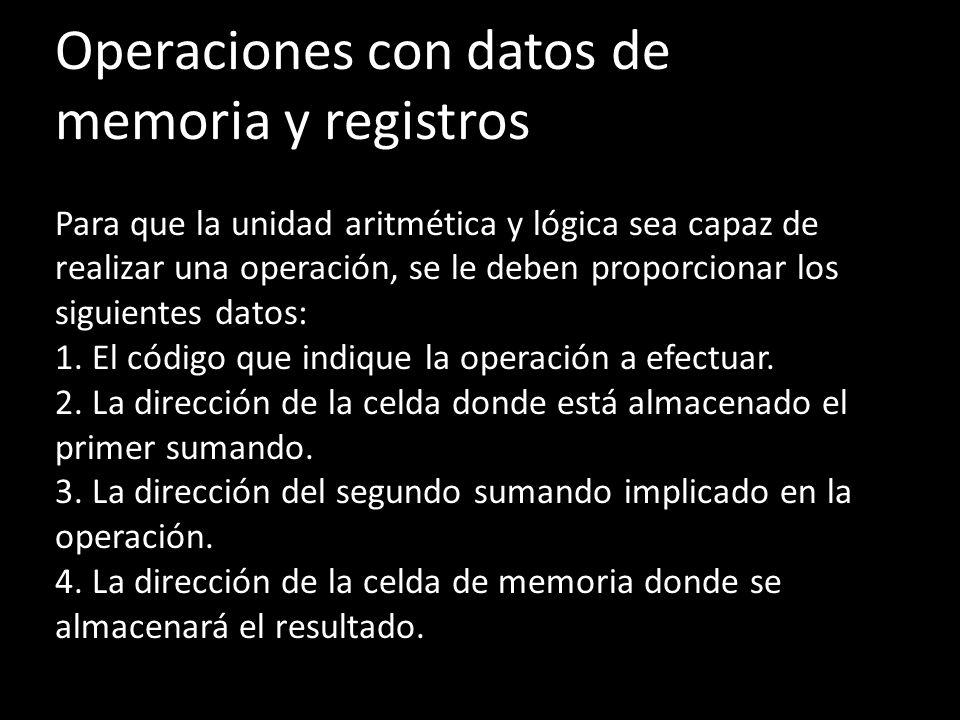 Operaciones con datos de memoria y registros Para que la unidad aritmética y lógica sea capaz de realizar una operación, se le deben proporcionar los