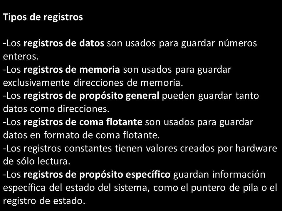 Tipos de registros -Los registros de datos son usados para guardar números enteros. -Los registros de memoria son usados para guardar exclusivamente d