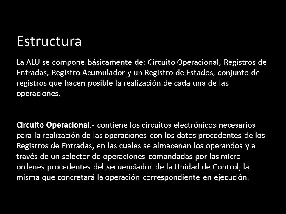 Estructura La ALU se compone básicamente de: Circuito Operacional, Registros de Entradas, Registro Acumulador y un Registro de Estados, conjunto de re
