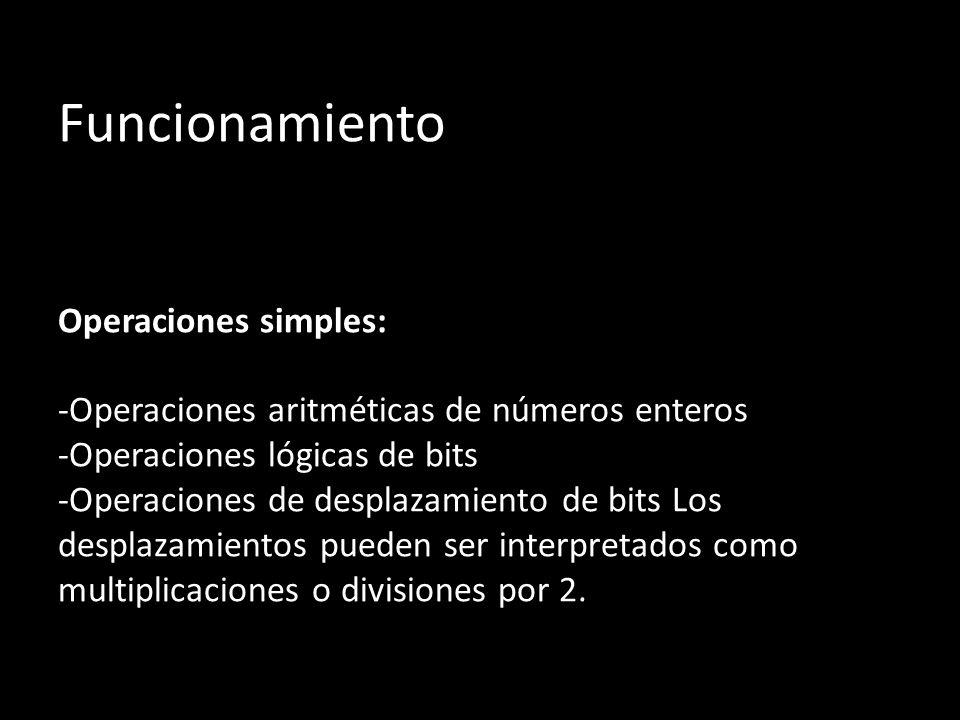 Funcionamiento Operaciones simples: -Operaciones aritméticas de números enteros -Operaciones lógicas de bits -Operaciones de desplazamiento de bits Lo