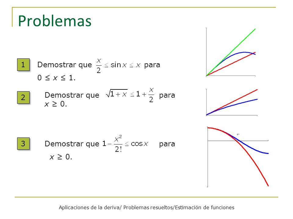 Problemas Aplicaciones de la deriva/ Problemas resueltos/Estimación de funciones 1 1 Demostrar que para 0 x 1. 2 2 Demostrar que para x 0. 3 3 Demostr