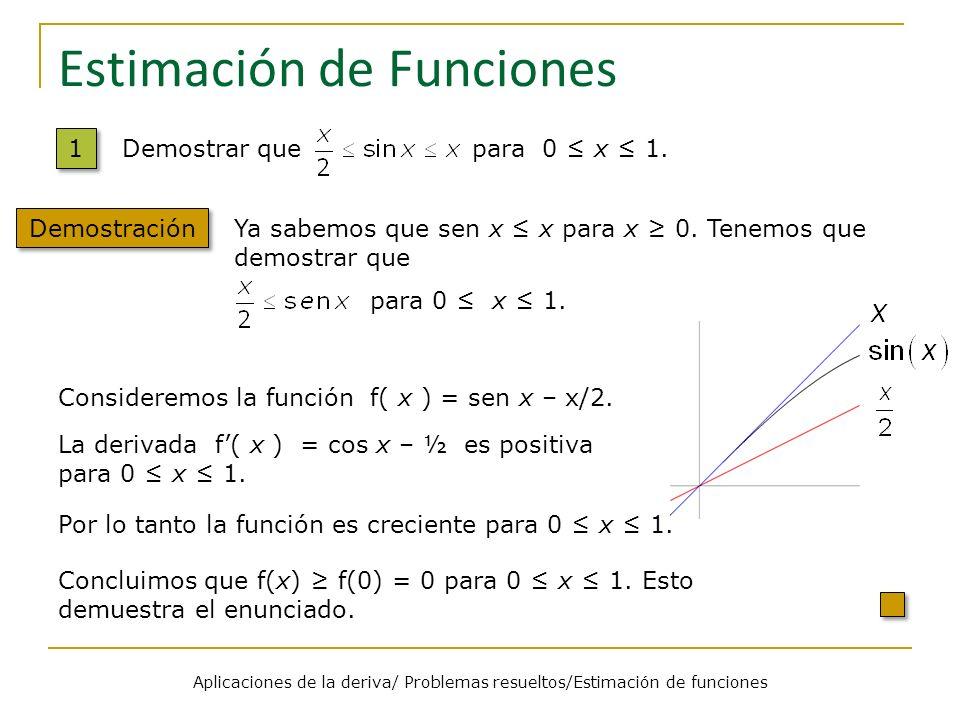 Aplicaciones de la deriva/ Problemas resueltos/Estimación de funciones Estimación de Funciones 1 1 Demostración Demostrar que para 0 x 1. Ya sabemos q