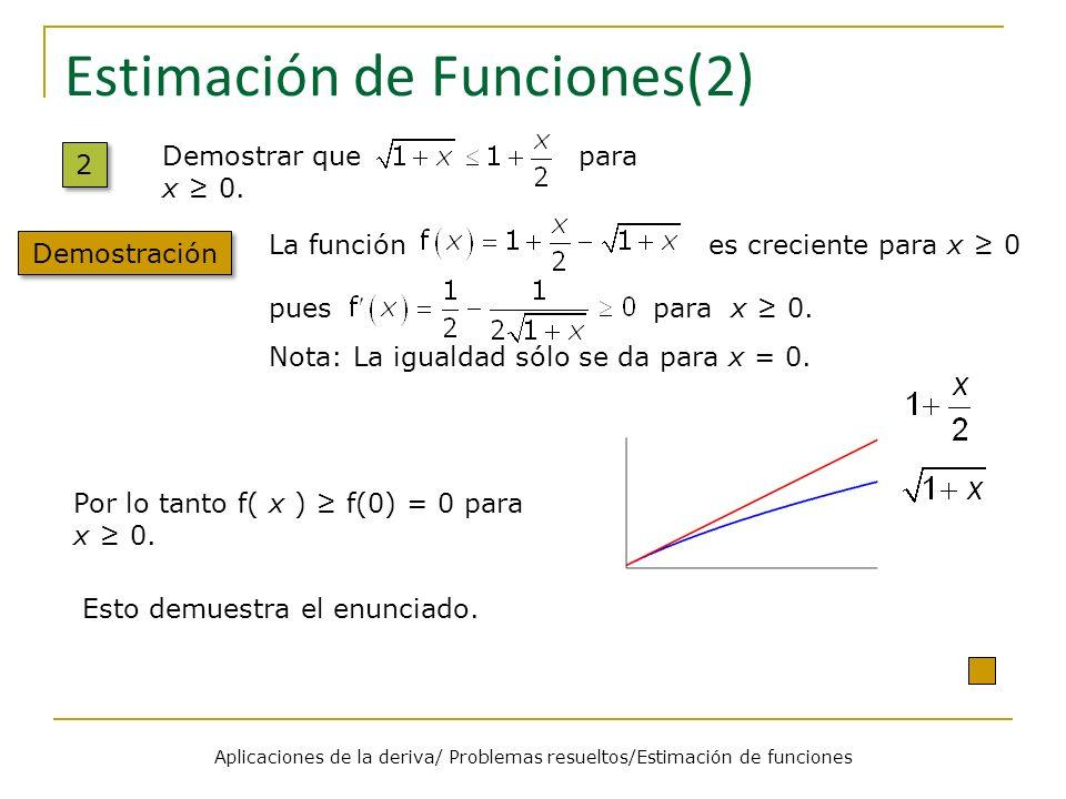 Estimación de Funciones(2) 2 2 Demostración Demostrar que para x 0. La función es creciente para x 0 pues para x 0. Nota: La igualdad sólo se da para
