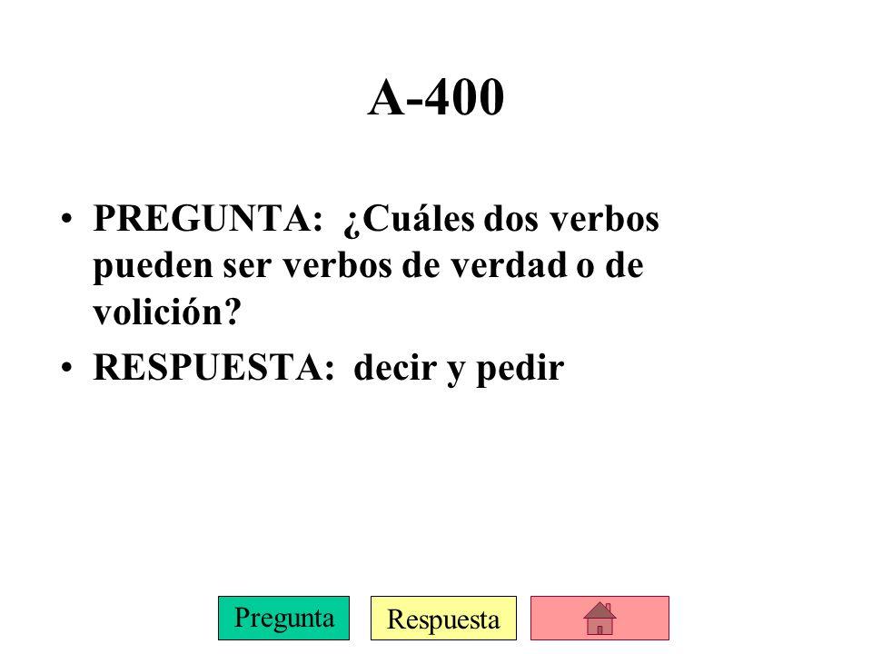 Respuesta Pregunta C-400 PREGUNTA: nosotros/dar RESPUESTA: demos