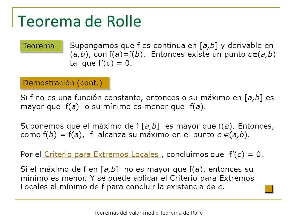 Teoremas del valor medio Teorema de Rolle Teorema de Rolle Teorema Demostración (cont.) Si f no es una función constante, entonces o su máximo en [a,b