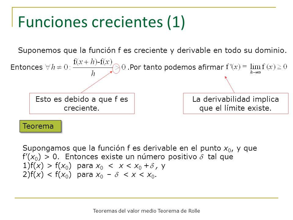 Funciones crecientes (1) Esto es debido a que f es creciente. La derivabilidad implica que el límite existe. Teorema Supongamos que la función f es de