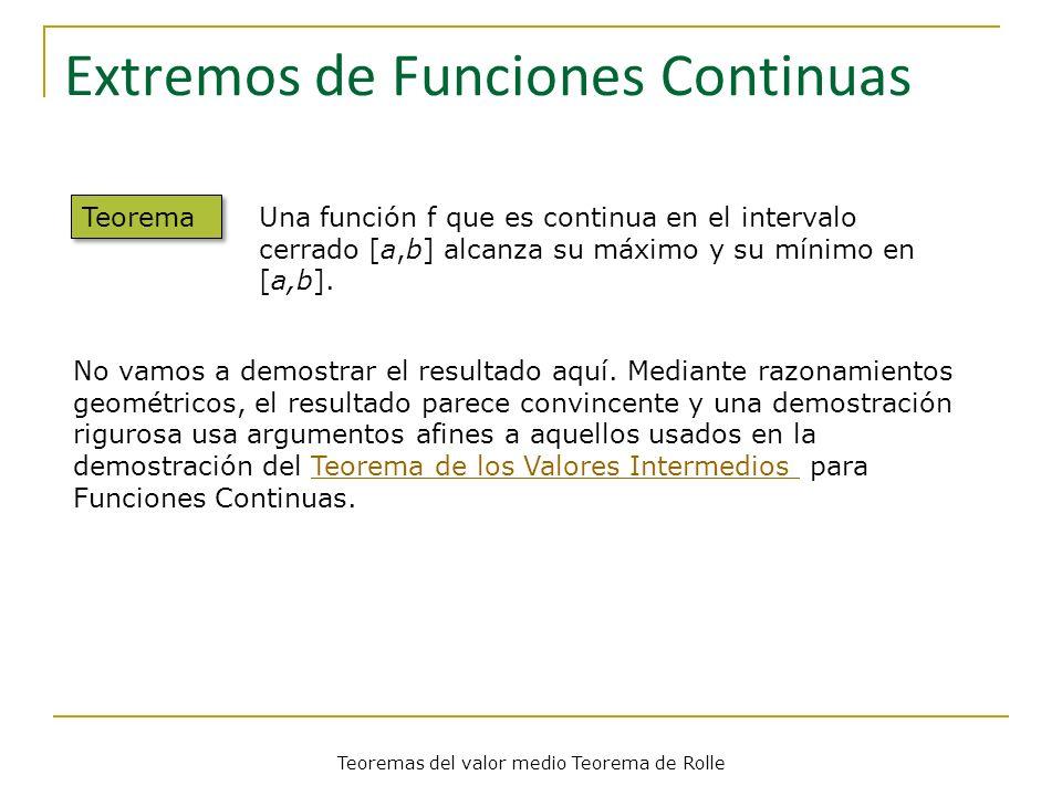 Teoremas del valor medio Teorema de Rolle Extremos de Funciones Continuas Teorema Una función f que es continua en el intervalo cerrado [a,b] alcanza