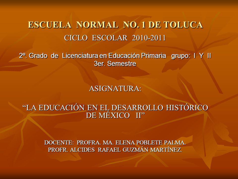ESCUELA NORMAL NO. 1 DE TOLUCA CICLO ESCOLAR 2010-2011 2º. Grado de Licenciatura en Educación Primaria grupo: I Y II 3er. Semestre ASIGNATURA: LA EDUC