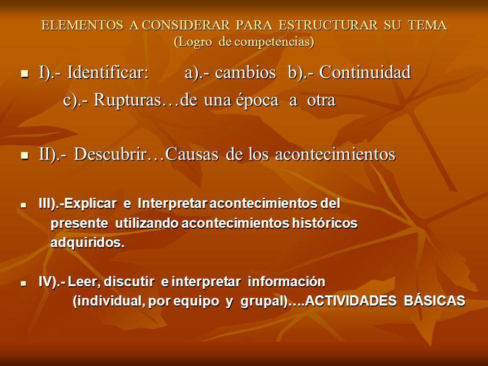 ELEMENTOS A CONSIDERAR PARA ESTRUCTURAR SU TEMA (Logro de competencias) I).- Identificar: a).- cambios b).- Continuidad I).- Identificar: a).- cambios