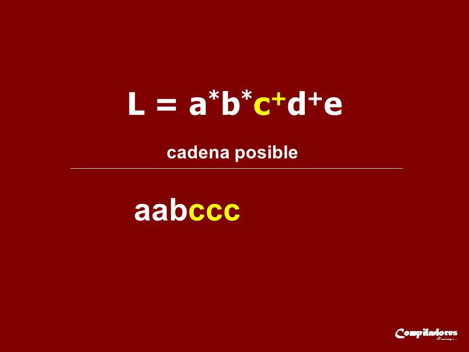 L = a * b * c + d + e cadena posible aabccc