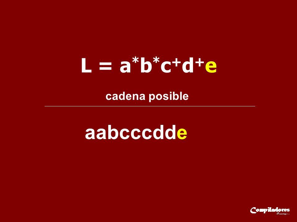 L = a * b * c + d + e cadena posible aabcccdde