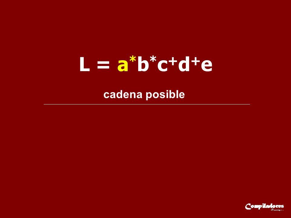L = a * b * c + d + e cadena posible