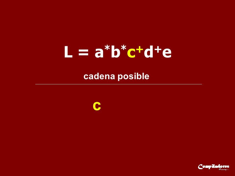 L = a * b * c + d + e cadena posible c