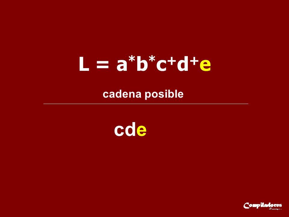 L = a * b * c + d + e cadena posible cde