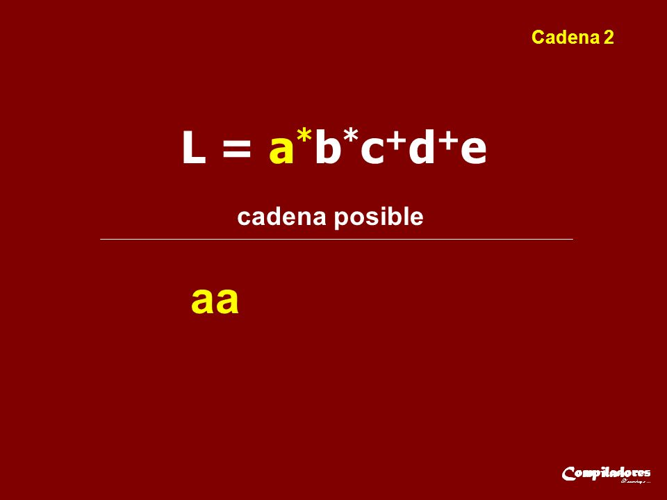 L = a * b * c + d + e cadena posible aa Cadena 2