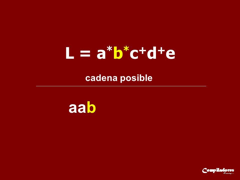 L = a * b * c + d + e cadena posible aab
