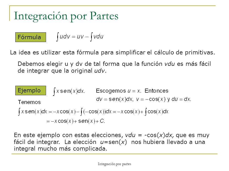 Integración por partes Integración por Partes Fórmula La idea es utilizar esta fórmula para simplificar el cálculo de primitivas. Debemos elegir u y d