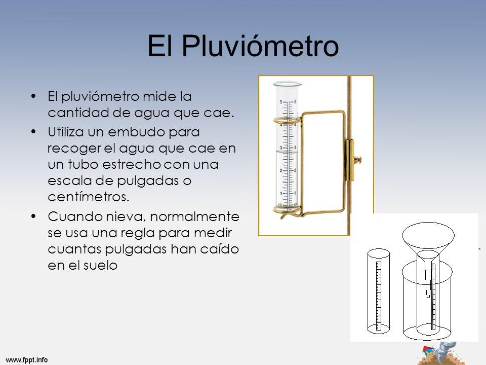 El Pluviómetro El pluviómetro mide la cantidad de agua que cae. Utiliza un embudo para recoger el agua que cae en un tubo estrecho con una escala de p
