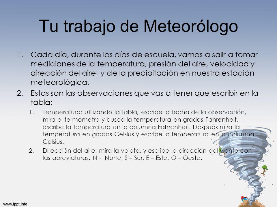 Tu trabajo de Meteorólogo 1.Cada día, durante los días de escuela, vamos a salir a tomar mediciones de la temperatura, presión del aire, velocidad y d