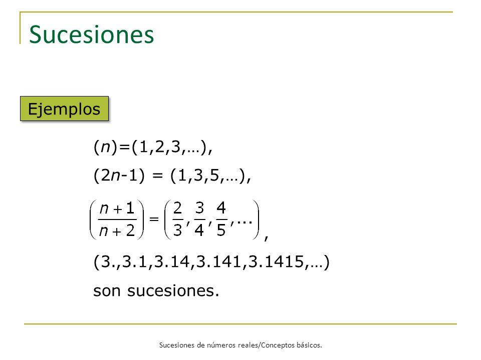 Sucesiones de números reales/Conceptos básicos. Sucesiones Ejemplos (n)=(1,2,3,…), (2n-1) = (1,3,5,…),, (3.,3.1,3.14,3.141,3.1415,…) son sucesiones.