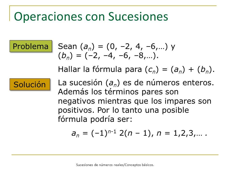 Sucesiones de números reales/Conceptos básicos. Operaciones con Sucesiones Problema Sean (a n ) = (0, –2, 4, –6,…) y (b n ) = (–2, –4, –6, –8,…). Hall