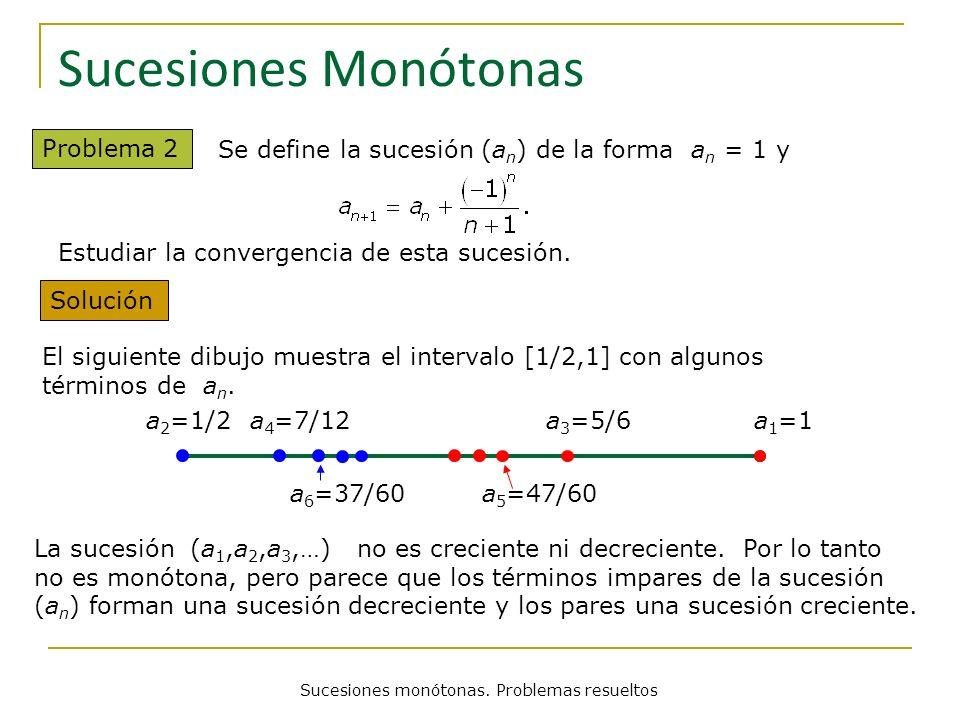 Sucesiones monótonas. Problemas resueltos Sucesiones Monótonas Problema 2 Se define la sucesión (a n ) de la forma a n = 1 y Solución La sucesión (a 1