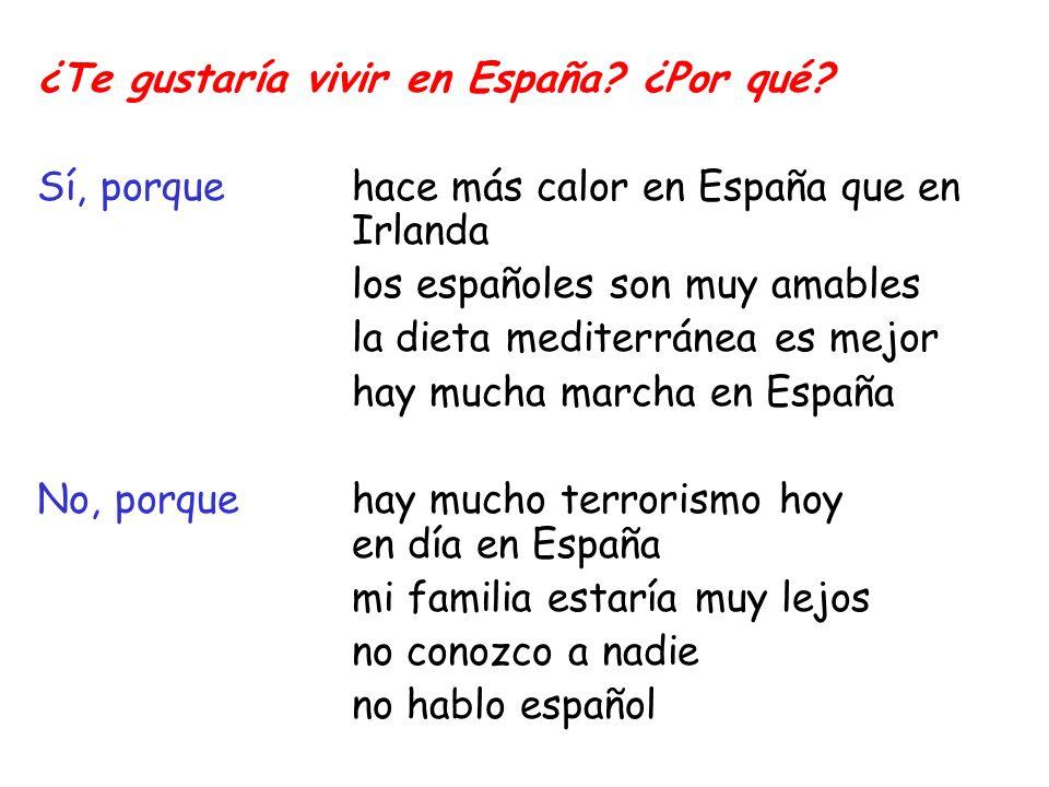 ¿Te gustaría vivir en España? ¿Por qué? Sí, porque hace más calor en España que en Irlanda los españoles son muy amables la dieta mediterránea es mejo