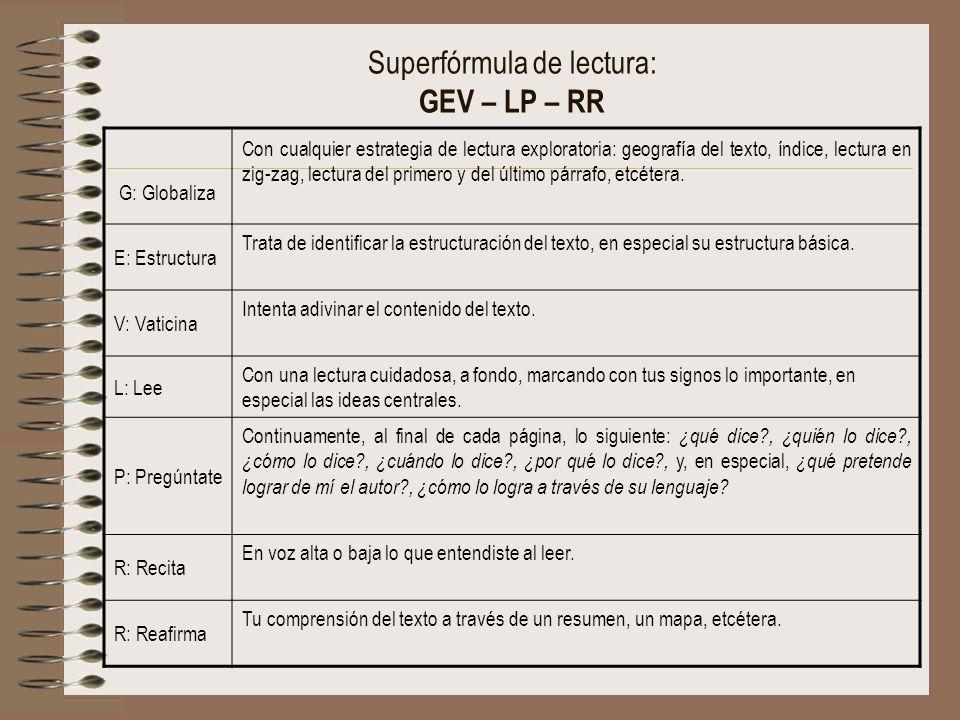 Superfórmula de lectura: GEV – LP – RR G: Globaliza Con cualquier estrategia de lectura exploratoria: geografía del texto, índice, lectura en zig-zag,