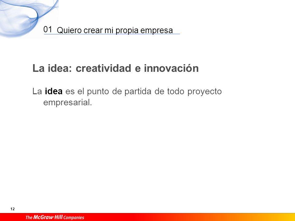 Quiero crear mi propia empresa 12 01 La idea: creatividad e innovación La idea es el punto de partida de todo proyecto empresarial.